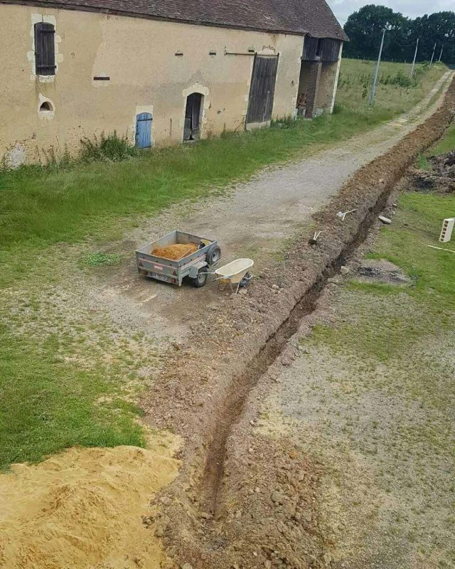 The trench in the drive